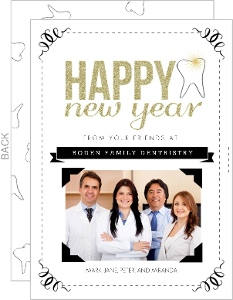 Glittery Gold Black Happy New Years Business Holiday Card