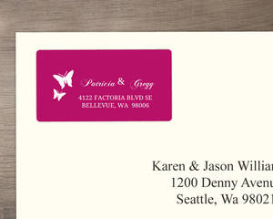 Bright Pink Butterfly Address Label