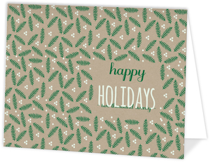 Beautiful Leaf Pattern Business Holiday Folded Card