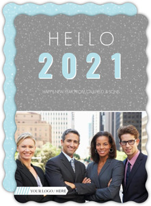 Gray Bright Sparkles Business New Year Card