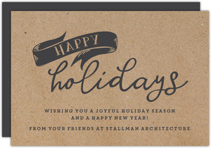 Kraft and Charcoal Banner Business Holiday Card