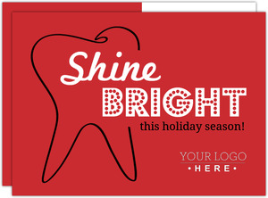 Black Red Tooth Dental Holiday Card