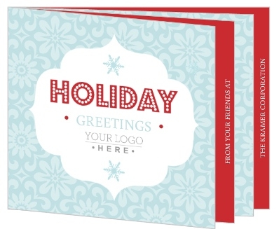 Blue And Red Snowflake Holiday Greeting Card