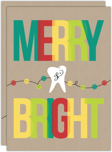 Colorful Merry Bright String of Lights Dental Holiday Card