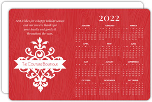 Red Flourish Holiday Business Calendar Card