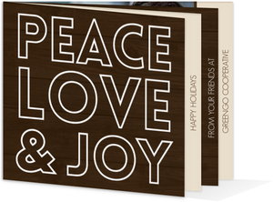 Modern Peace Love Joy Booklet Business Holiday Card
