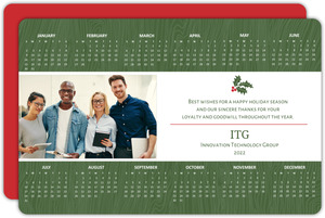 Green Wood Grain Holiday Business Calendar Card