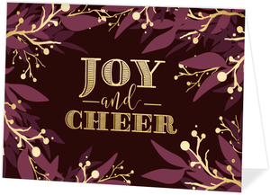 Burgundy and Faux Gold Foliage Business Holiday Card