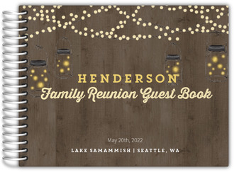Rustic String Lights Family Reunion Guest Book