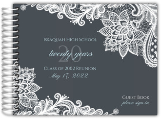 Grey Lace Class Reunion Guest Book