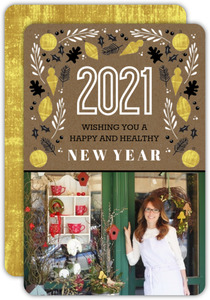 Best of Luck Gold New Year Business Holiday Card