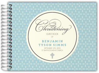 Blue Geometric Pattern Christening Guest Book