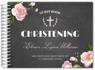 Floral Wreath Cross Christening Guest Book