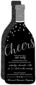 Silver Glitter Cheers Champagne Bottle Business Holiday Invitation