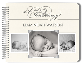 Elegant Multi Photo Christening Guest Book