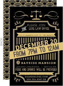Gold Typographic Art Deco Business Holiday Party Invite