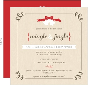 Mingle Jingle Red Brown Business Holiday Party Invitation