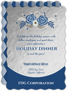 Faux Silver Foil with Delicate Navy Floral Bunch Business Holiday Party Invitation