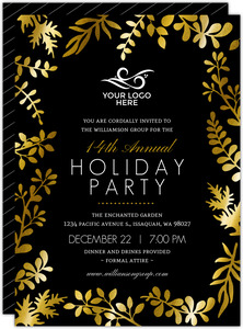 Faux Gold Foil Foliage Decor Holiday Party Invitation