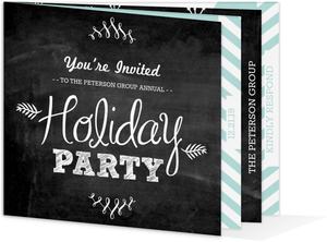 Chalkboard Robins Egg Blue Booklet Business Holiday Party Invitation