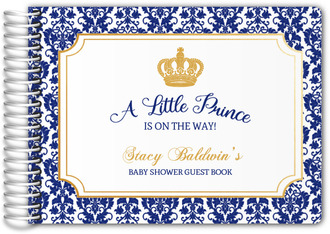 Little Prince Damask Pattern Baby Shower Guest Book