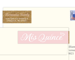 Modern Chick Faux Glitter Address Label