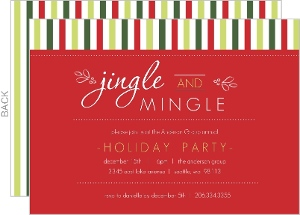 Classic Holiday Red and Green Striped Jingle and Mingle Business Holiday Party Invitation