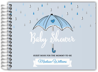 Blue Umbrella Baby Shower Guest Book