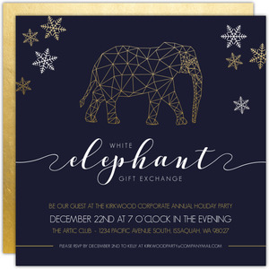 Faux Foil Geometric Elephant Business Holiday Party Invitation