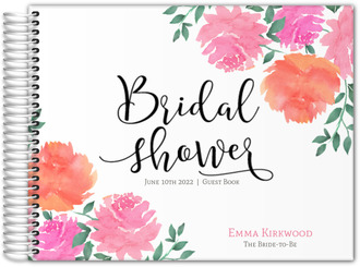 pink watercolor peonies bridal shower guest book