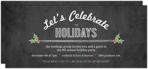 Holly Chalkboard Celebration Business Holiday Party Invitation