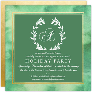 Monogram Watercolor Wreath Business Holiday Party Invitation