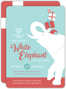 Snowy White Elephant Holiday Business Party Invitation