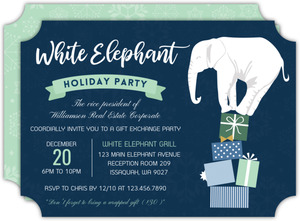 White Elephant Gift Exchange Company Holiday Party Invitation