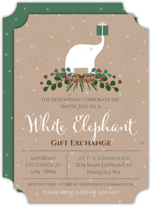 Festive Holiday Leaves Business White Elephant Party Invitation
