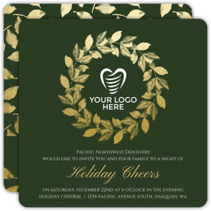 Elegant Faux Foil Wreath Business Holiday Party Invitations