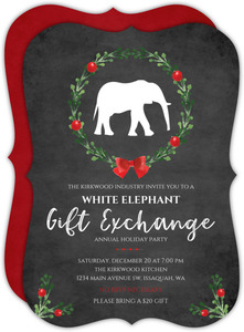 Festive Watercolor Wreath White Elephant Company Party Invitation