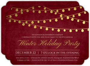 Gold Foil Hanging Lights Holiday Party Invitation