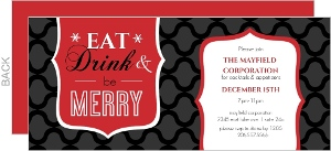 Bold Patterned Red, Black and White Business Holiday Party Invitation