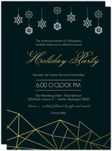 Modern Gold Foil Geometric Decor Holiday Party Invitation