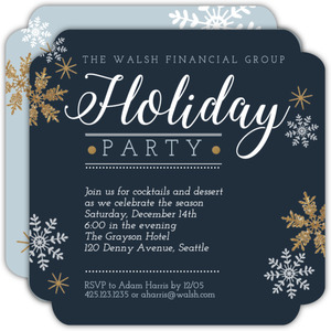Navy and Faux Gold Glitter Snowflake Business Holiday Party Invitation