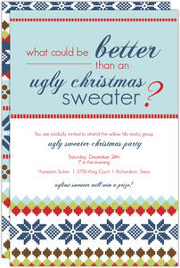 Blue Ugliest Christmas Sweater Business Holiday Party Invitation