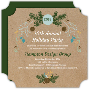 Rustic Decor Business Holiday Party Invitation