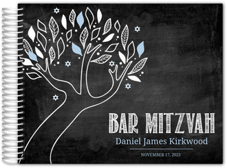 Chalkboard Blue and White Tree Bar Mitzvah Guest Book