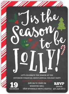 Chalkboard Jolly Cheer Business Holiday Party Invitation