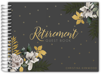 Gold Leaves Floral Retirement Guest Book
