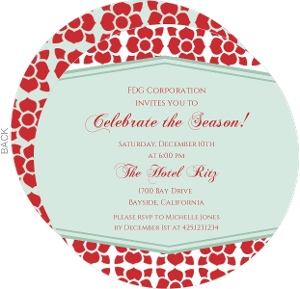 Poinsettia Pattern Business Holiday Party Invitation