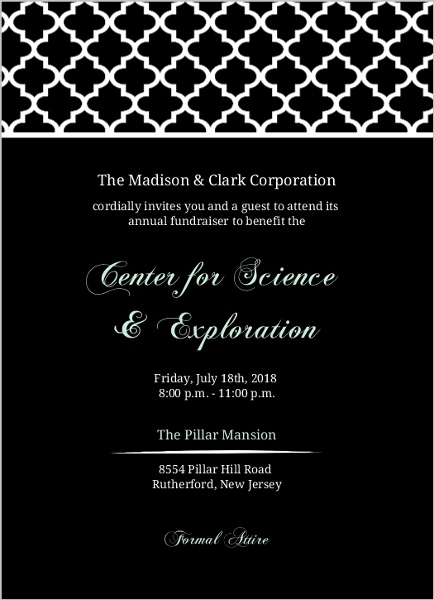 black and mint elegant pattern corporate event invitation business