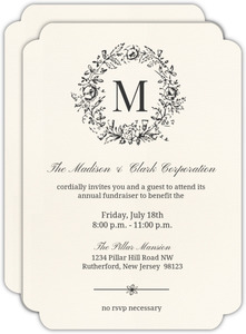 Classic Wreath Initial Corporate Event Invitation