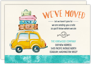 Watercolor Car Moving Business Announcement Postcard